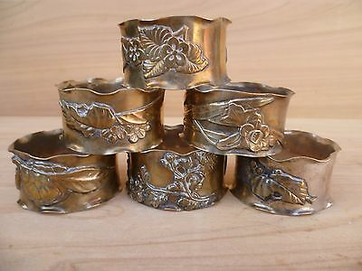 Vintage Old Very Nice Floral Decorative Napkin Rings Set 'x6' (E578)