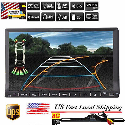 "Map+Camera+GPS Nav 7""Double 2Din Car Stereo Radio DVD CD SD Mp3 Player Bluetooth"