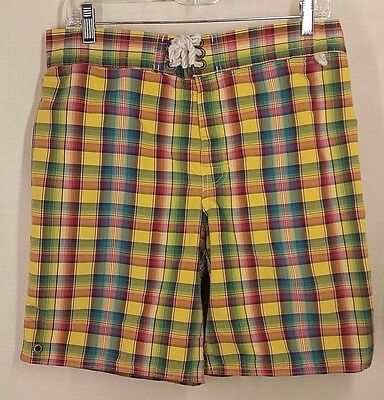 Vintage Polo Ralph Lauren Plaid Short Board Swim Shorts Trunks Mens Medium