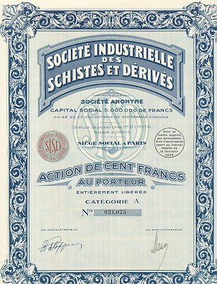 FRANCE Industrial Society Of Minerals And Derivatives Vintage Stock Certificate