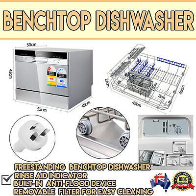 5 Star Chef Electric Benchtop Freestanding 5 Cleaning Programs Silver Dishwasher