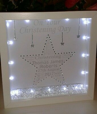 Personalised Christening gift in a 3D box frame with crystals & lights