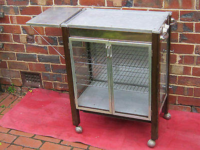 Glass Warming Cabinet, Glass Food Display Cabinet, Serving Trolley on Castors