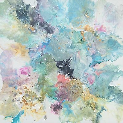 Original modern canvas abstract painting art colourful blue olive pink mustard