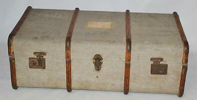 Antique Wood Bound Travel Trunk Chest for Storage Coffee Table [PL3442]