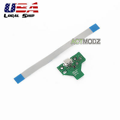Repair Parts 12 PIN USB Charging Port PCB Board W/ Flex Cable For PS4 Controller