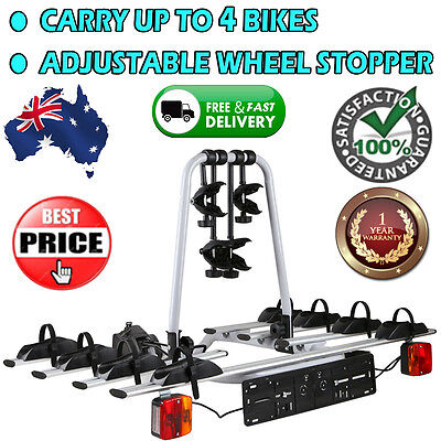 4x Bicycle Bike Carrier Rack Trunk Hitch Car Mount TowBall Towbar w/ Rear Lights
