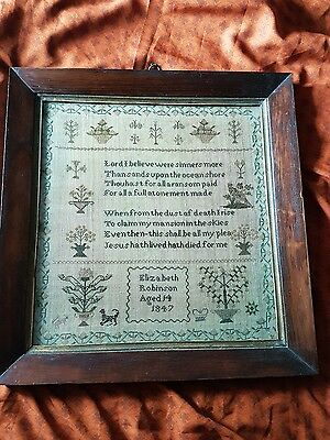 Beautiful antique sampler Elizabeth Robinson age 14 years 1847 Yorkshire Family