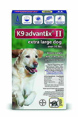 K9 Advantix II for Extra Large Dogs Over 55 lbs, 1 Dose