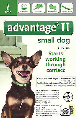 Advantage II For Small Dogs 3-10 lbs, 1 Month Supply