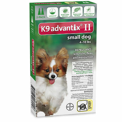 K9 Advantix II for Small Dogs 4-10 lbs, 2 Month Supply