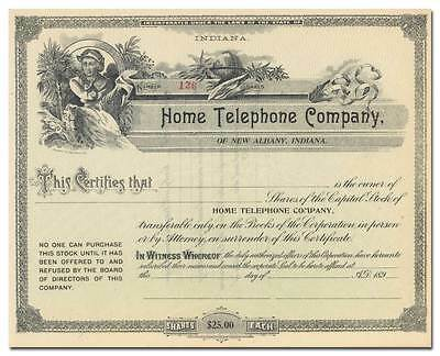 Home Telephone Company Stock Certificate