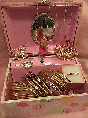 Brand New Girls Musical Jewellery Box With Bangles Brooches Ring Necklaces