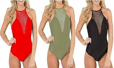 Womens Fish Net Plunge CamiSole Ladies Halter Neck Backless Leotard BodySuit