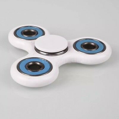 Tri-Spinner Ceramic Fidget Toy Hand Finger Spinner Focus EDC ADHD - White & Blue