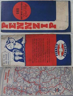 1937~Ohio & West Virginia Road Map~Pennzoil