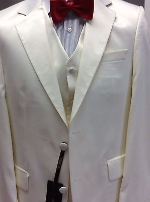 Ivory Satin 3 Piece Suit For Wedding Or Prom  Brand New By Robbelli