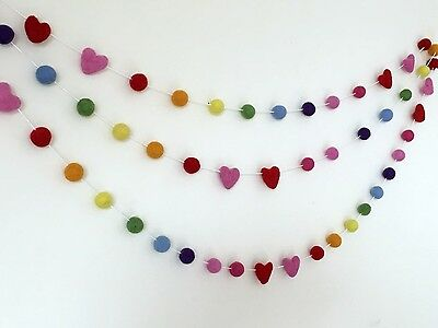 Rainbow Pom Pom Garland,Felt Ball Bunting,My First Room,Party,Nursery Wall Decor