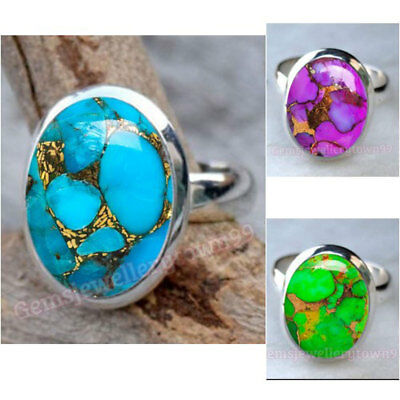Blue Green Purple Copper Turquoise Ring 925 Sterling Silver Ring Size O P Q R S