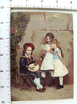 Victorian Trade Card Cute Boy Sailor Suit Mandolin Adorable Girls Singing #H