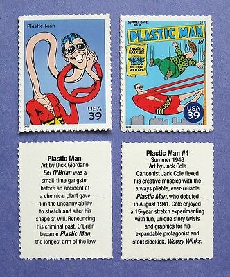 DC COMICS SUPERHERO PLASTIC MAN ON REAL POSTAGE STAMPS (be13)