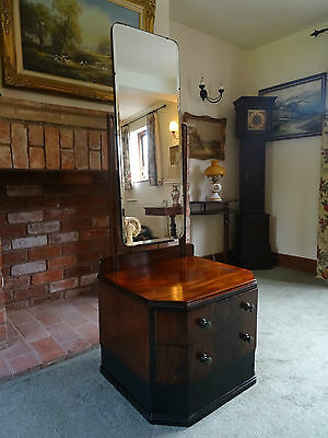 STYLISH ORIGINAL 1930's ANTIQUE ART-DECO MAHOGANY DRESSING TABLE MIRROR CHEST