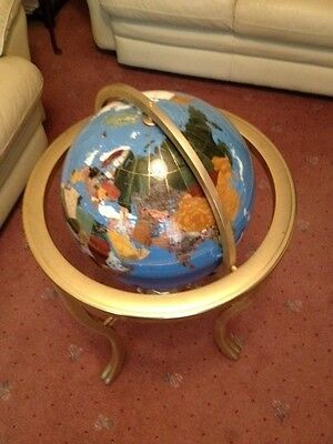 Mother Of Pearl Gemstone Globe - Light Blue