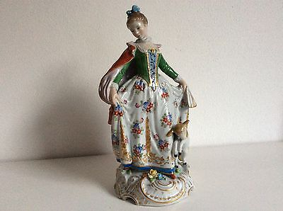 Lovely dresden sitzendorf lady red cape with lamb porcelain figurine