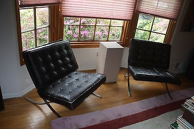 Vintage Mid Century Modern Barcelona Style Chrome & Black Leather Lounge Chairs