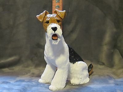 Wire Hair Fox Terrier Plaster Dog Statue Hand Cast And Painted By T.c. Schoch