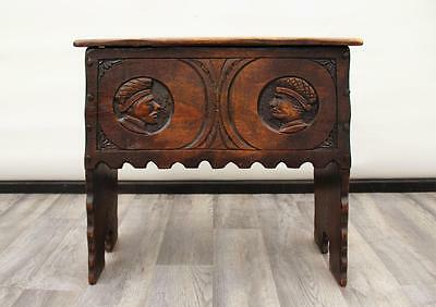 Antique Continental Carved Oak Coffer / Blanket Chest