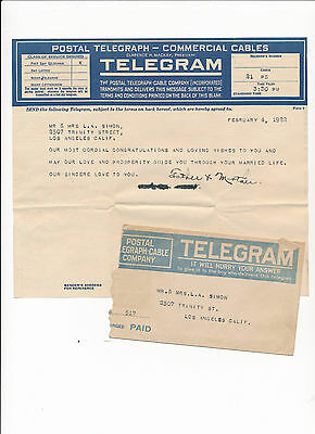 Rare Antique Vintage Postal Telegraph Cable Company Telegram Los Angeles 1922