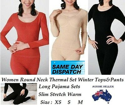 Women Thermal Underwear Stretch Sleepwear Pajamas Set Winter Nightwear Top Pants