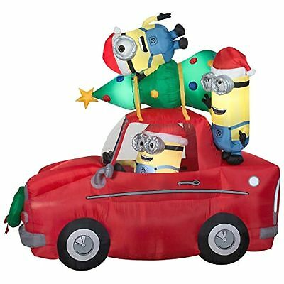 Christmas Inflatable Minions in Car with Christmas Tree