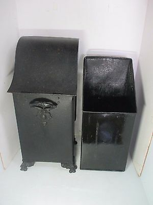"Antique Victorian Black Metal Coal Scuttle With Inner Can - 24"" Tall"