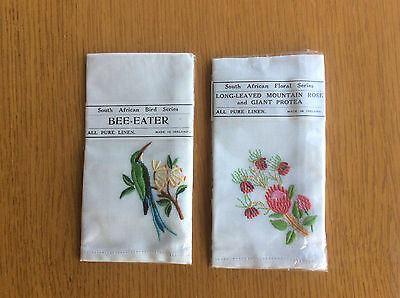 2x New Vintage White Irish Linen Handkerchiefs, South African Bird/Floral Series