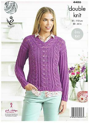 King Cole Knitting Pattern 4486 Easy Kinit Lacy Sweater and Top in DK