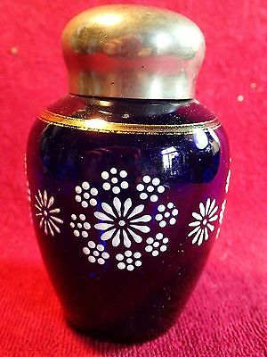 Vintage Beautiful Handpainted Cobalt Blue Tea Caddy Box Jar Container Bowl