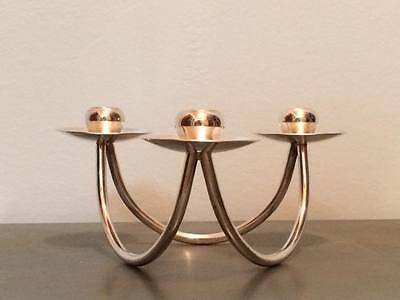 Mid century modern Berg silver plate tapered candlestick holder made in Denmark