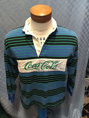 "Vintage Coca Cola COKE  RUGBY STRIPED Shirt SIZE SMALL Chest 40"" Size tag Faded"