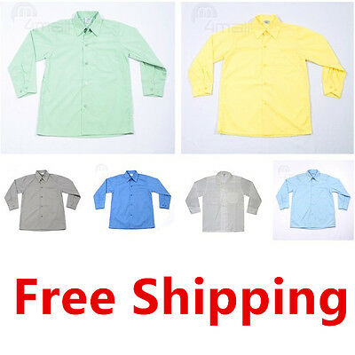 Boys Kids Girls Teen Long Sleeve Formal Casual School Uniform Wedding Shirt Sz