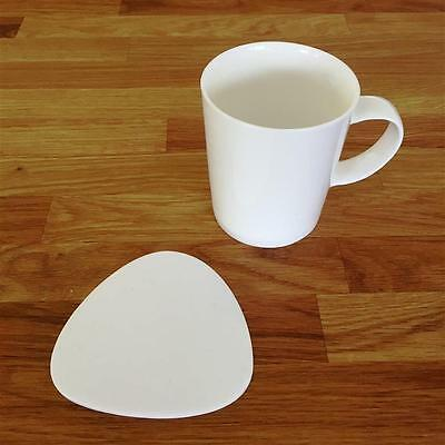 Pebble Shaped White Gloss Finish Acrylic Coasters, Sets of 4, 6 or 8, 10cm 4""