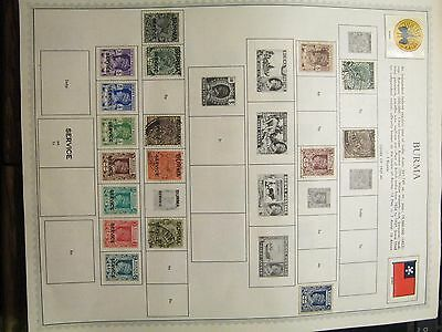 BURMA Collection of 53 Stamps Hinged in Minkus Album Pages MINT/USED 1937-1949
