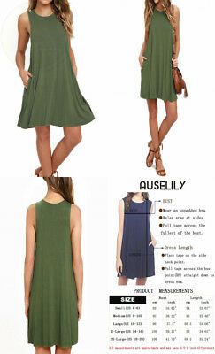 66229030bd2d AUSELILY WOMEN'S SLEEVELESS Pockets Casual Swing T-Shirt Dresses ...
