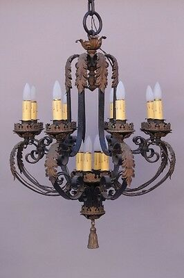 1 of 2 1920s Large Chandelier Light Antique Spanish Revival Tudor Vintage (8675)