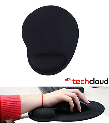 Black Mouse Pad Mat Anti Slip Comfortable Soft Wrist Rest Support for Table Desk