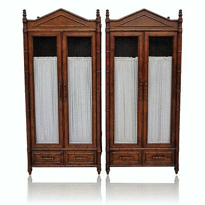 Vtg Pair Century Furniture Co. Faux Bamboo Armoire Wardrobe China Cabinet Closet