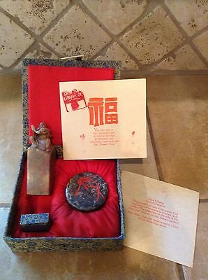 Vintage Wen Chang Hand Carved Stone Chinese Chop Stamp And Ink God of Literature