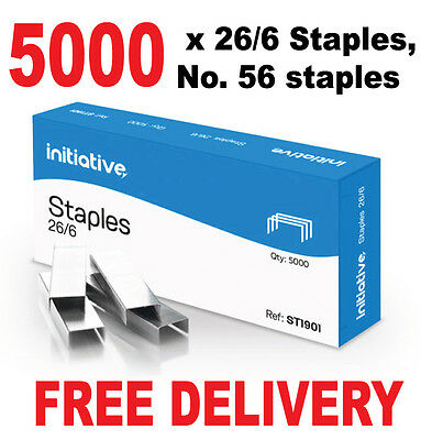 5000 x 26/6 Staples, no 56 staples -Fits Half Strip Full Strip Long Arm Staplers