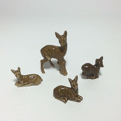 4 Vintage Bone China Glazed Brown Deer and Fawn Figures Made in Germany